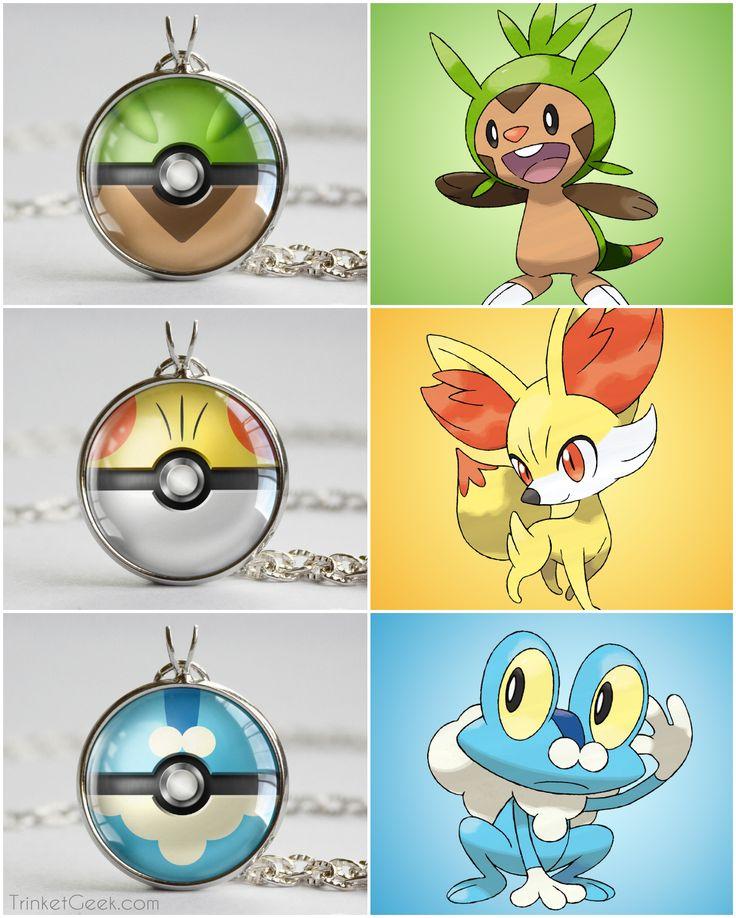 Pokemon Kalos starter mega pokeballs, Chespin ball, Fennekin ball and Froakie ball #kalos #geekery #treatsforgeeks