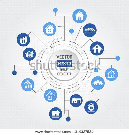 Big circle home concept - stock vector