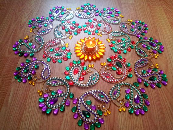 BIG Rangoli Traditional Dancing Peacock Kundan Indian Designer Kolam - Ready to use
