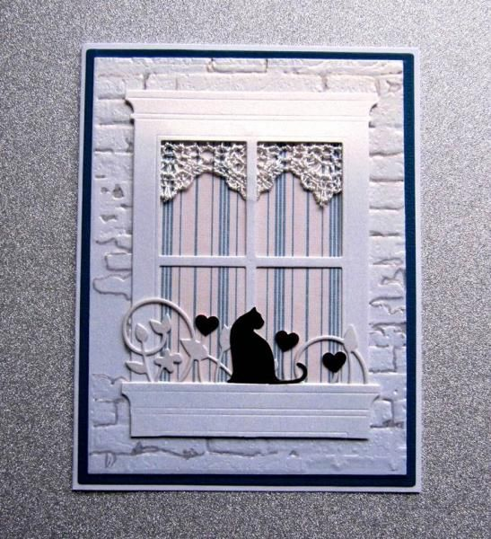 handmade card ... window die cut ... old brick embossing folder ... lace border cut curtain  valance ... black cat ... WOW!!  ... great card!