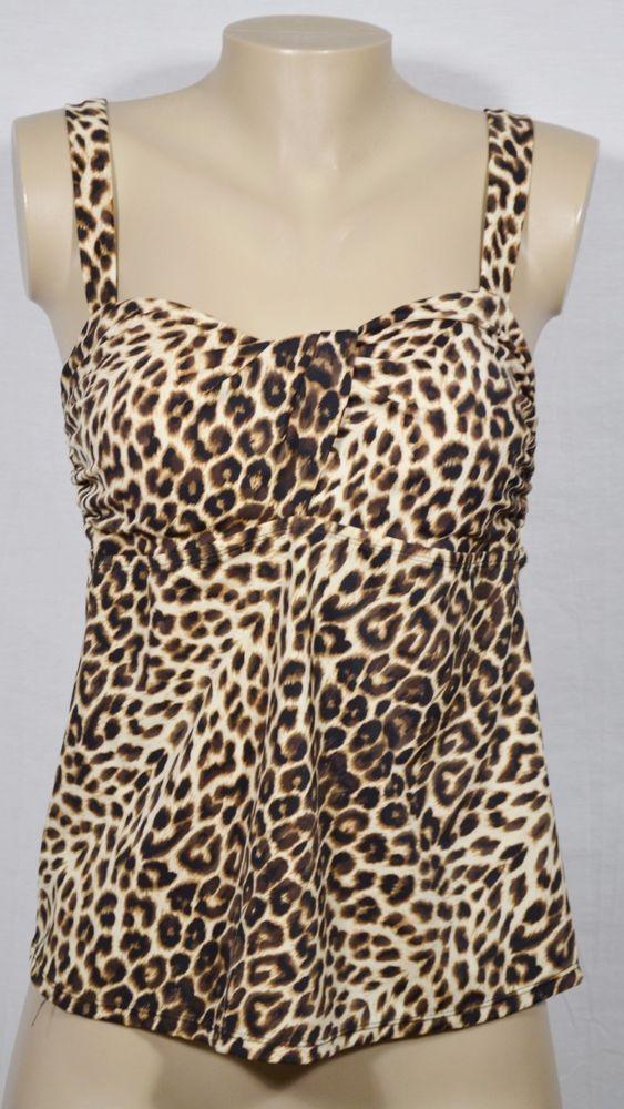 JANTZEN CLASSICS Brown/Tan Animal Print Tankini Top Swimwear 12 Soft Padded Cups…