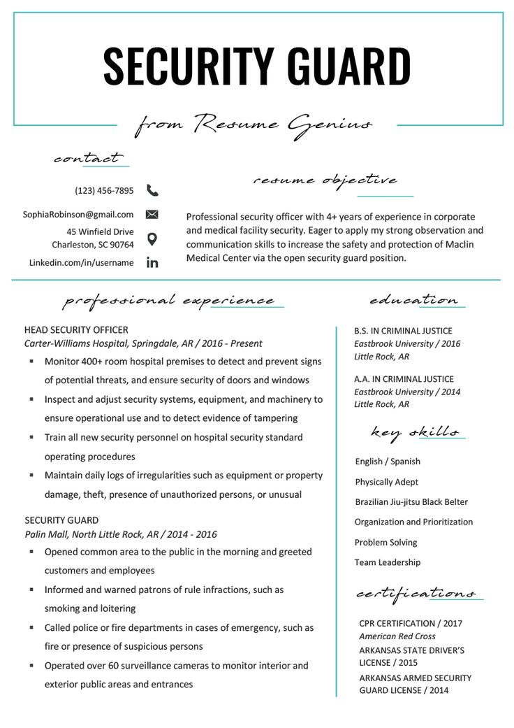 security guard resume sample  writing tips  resume