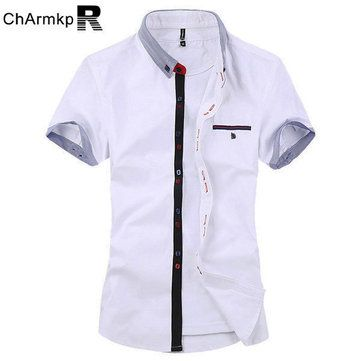 ChArmkpR Mens Stripe Cotton Summer Casual Fashion Spell Color Short Sleeve Dress Shirt at Banggood