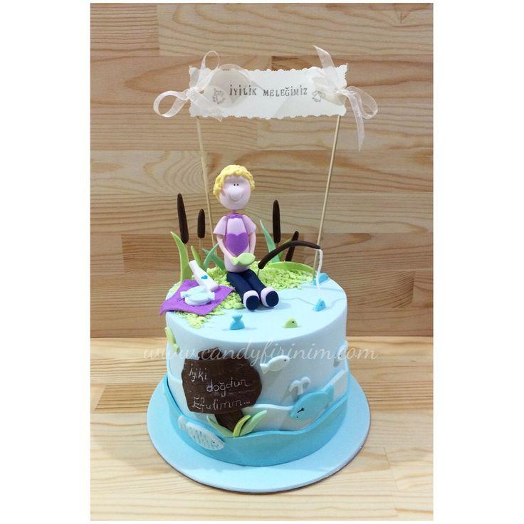 Lake-sea themed birthday cake for girl  #sekerhamuru #butikpasta #candyfirinim #fondantcake #sugarart