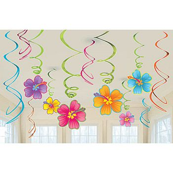 These brightly colored Luau Hanging Swirl Decorations feature beautiful hibiscus flowers dangling off of several of the foil whirls. Each pkg contains 12 Hibiscus Flower Danglers.