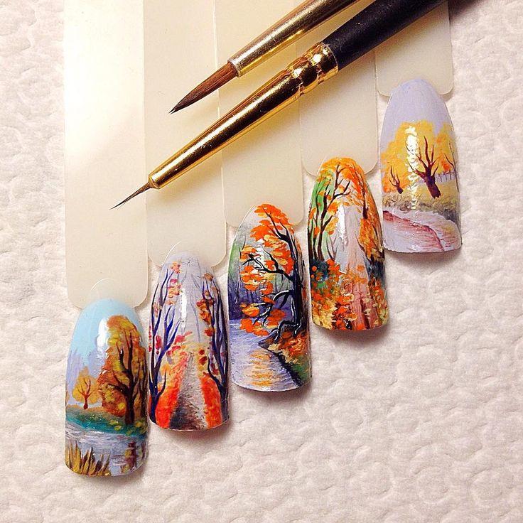 Осенние картинки акварелью на ногтях