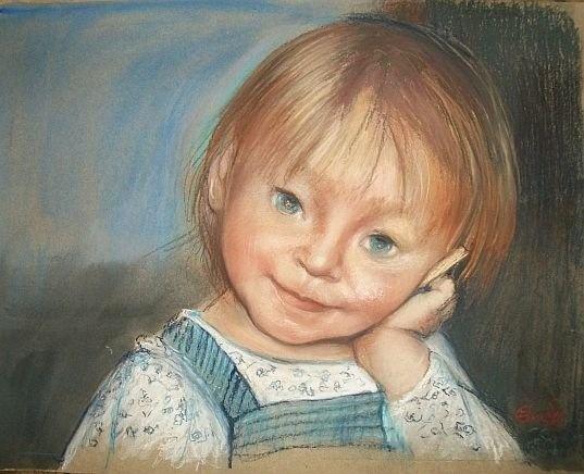 Portret dziecka, pastel by Leszek Gesiorski