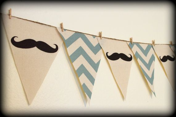 Blue Chevron print Mustache Banner  Party by ImSeriouslyJoking, $25.00