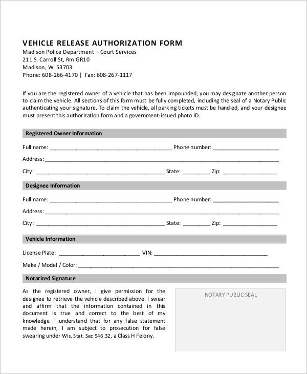 sample vehicle release form examples word pdf authorization letter - authorization form template