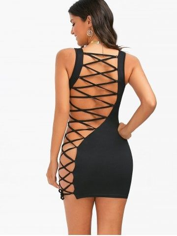 9f946a352c Open Back Lace-Up Tight Sleeveless Dress