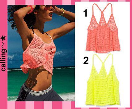 セレブ愛用【Victoria's Secret】Flounce Crochet Tank-Cover Up レース編みのタンクトップAラインシェイプで女性らしさを演出♪ ゆったりとしたデザインなのでリゾートやビーチで大活躍すること間違いナシ!