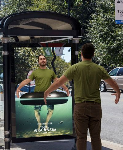 Wisconsin bus stop mirror ad