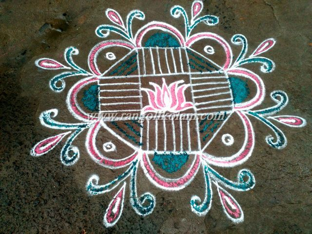 Easy kolam for beginner in freehand style with little colour combination with…