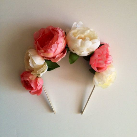 Peachy coral and cream ranunculus flower crown headband, floral crown, flower crown, flower headband, crown, weddings, flower girl, summer via Etsy