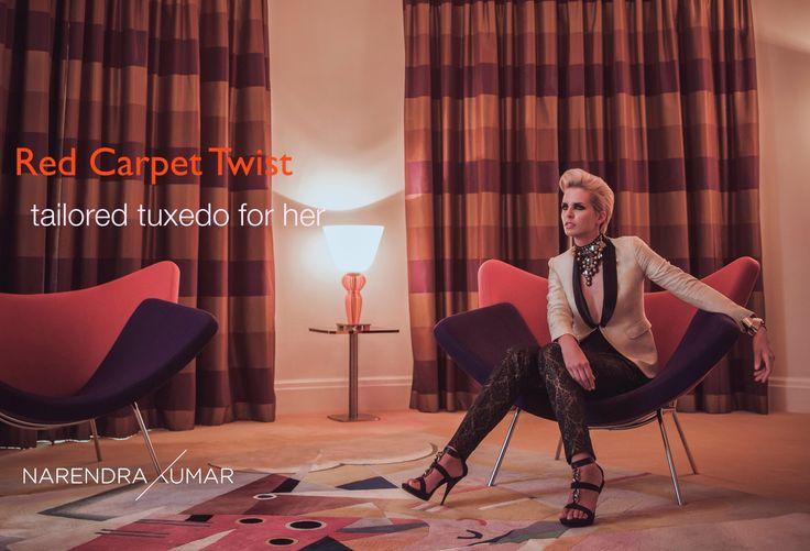 Red Carpet Twist : Tailored tuxedo for her #narendrakumar designs