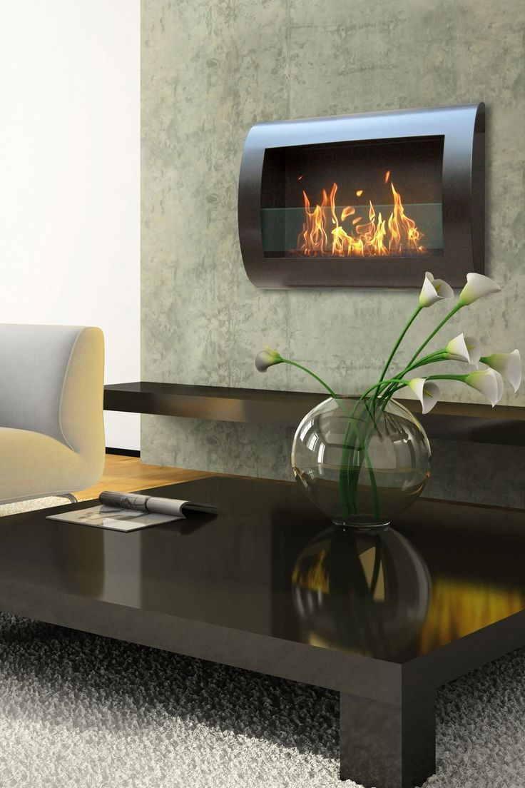 A wall mount fireplace is sleek and decorative but also adds a cozy touch.