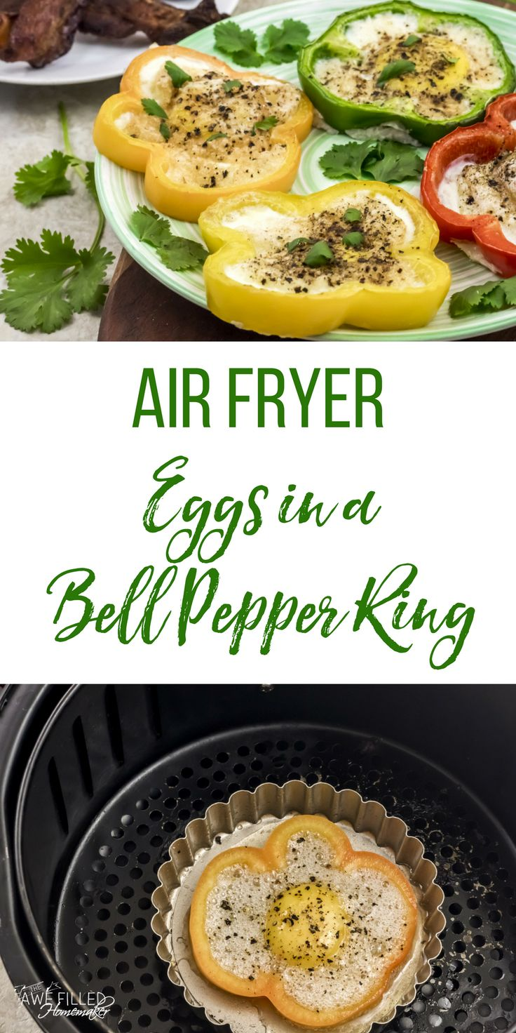 Looking for a low carb breakfast option in your air fryer? These air fryer eggs in a bell pepper ring are so fun! Great for St Patrick's Day, Easter, or any day! #AirFryer #Eggs #BellPeppers #LowCarb #StPatricksDay #Easter via @AFHomemaker