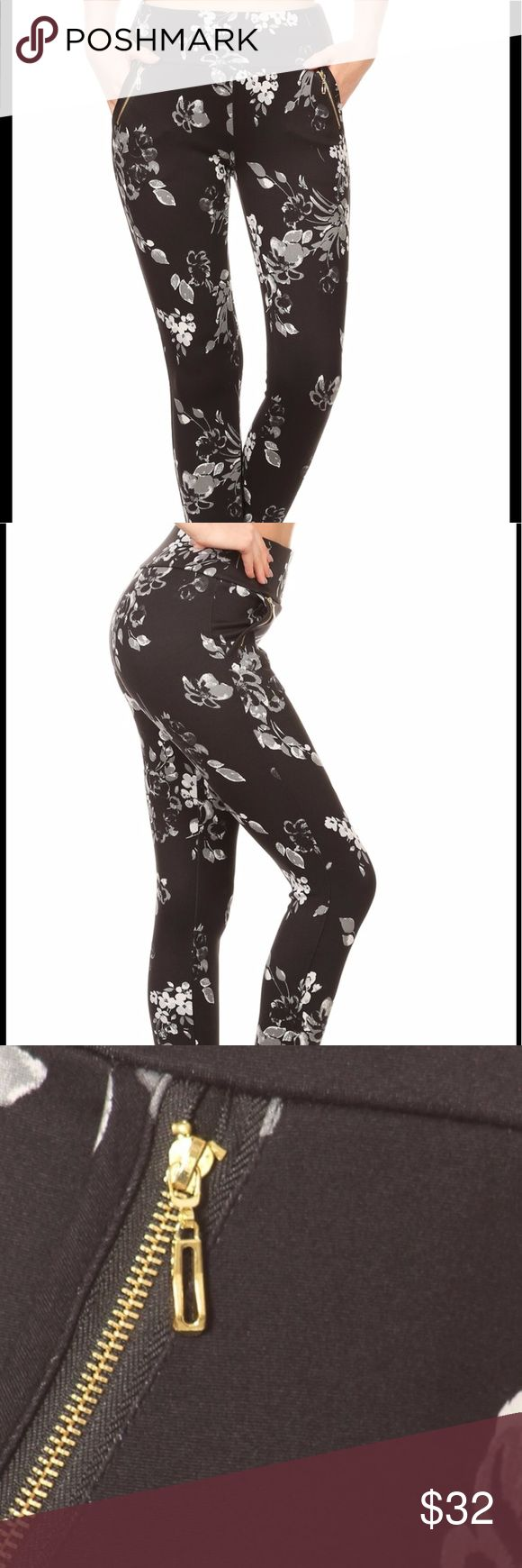 """Coming soon! Soft brushed floral Treggings I cannot wait for these to arrive! Black and white floral print """"treggings"""" with waist band and waist gold zipper side pockets.  These have the buttery soft feel of leggings. 92% polyester 8% spandex. Pants Leggings"""