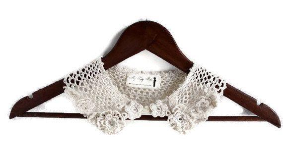 Gehaakte ketting - gehaakte kraag - afneembare kraag - halsketting - verklaring ketting - Vegan halsketting - Ierse haak - haak sieraden