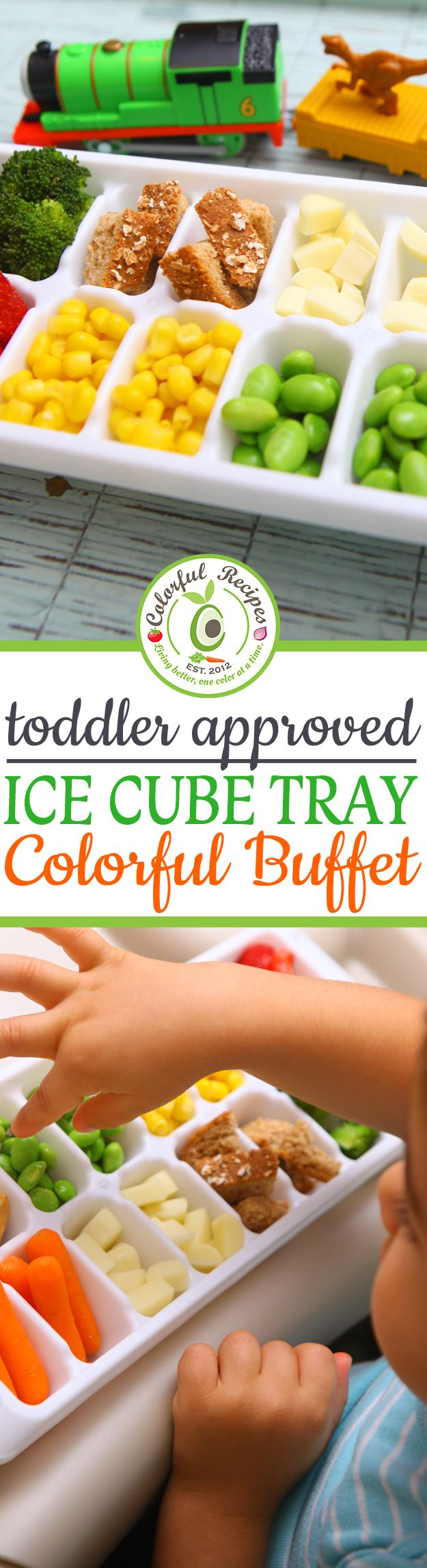 Toddler Approved Ice Cube Tray Colorful Buffet: An easy way to offer your toddler a variety of healthy options at any meal!