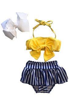 Swimsuit - Yellow & Navy High Waisted Bikini