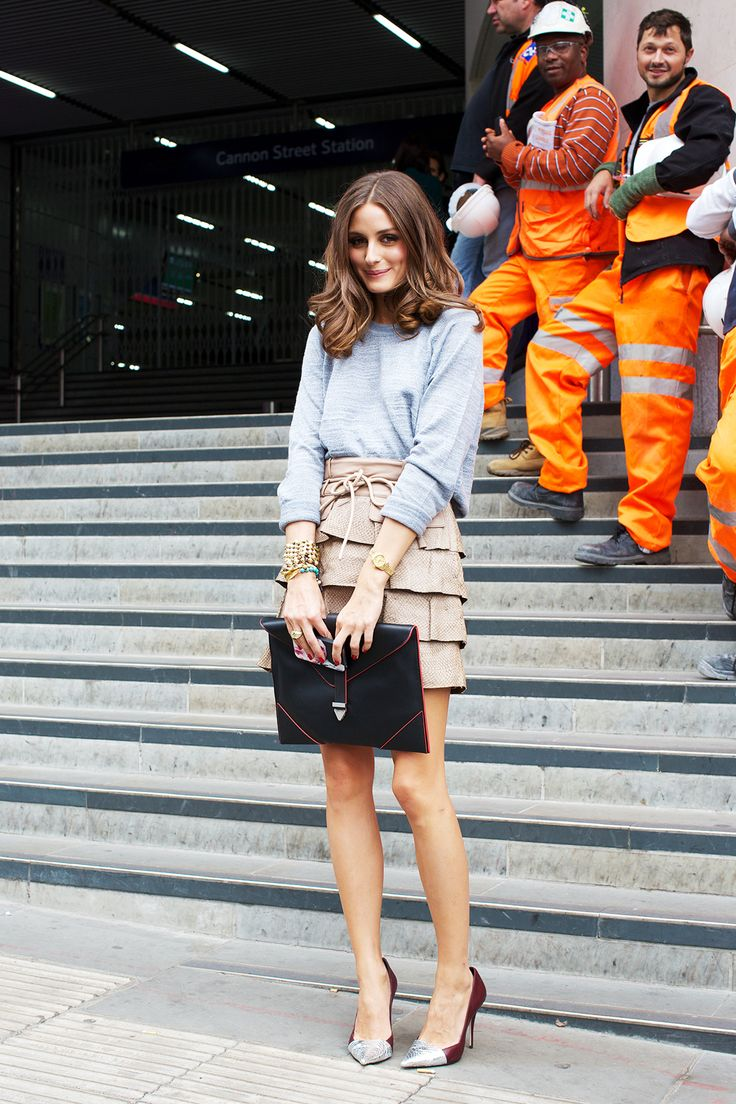 "London Fashion Week September 2012 Street Chic: Olivia Palermo wears a Reiss top, Matthew Williamson skirt and Elizabeth and James ""Sash"" shoes."