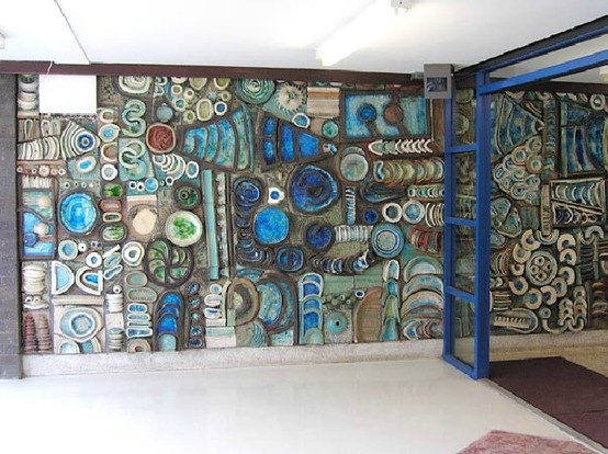 That's what we call an entrance!  Midcentury mural at the entrance to Mitchell Hey, College Bank Flats in Rochdale. By George and Joan Stephenson c1966.