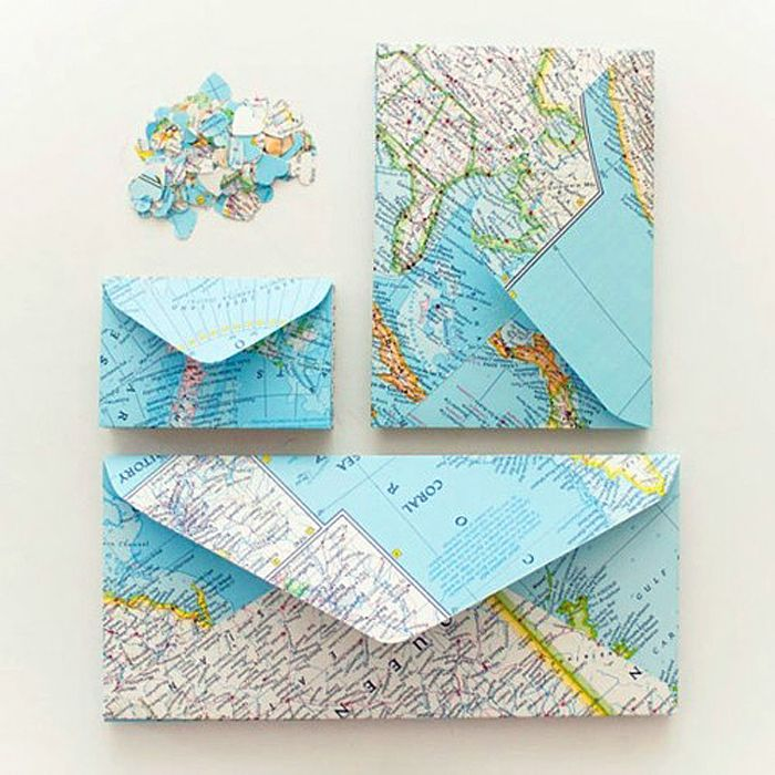 DIY Map Envelopes - Idea could easily be adapted to make a clutch.