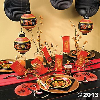 Lots of drama with these ready made decorations for Chinese New Year. The black adds sophistication.