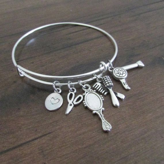 Hair Stylist Bracelet, Adjustable Bangle Bracelet, Expandable Bracelet, Charm Bracelet, Silver Bracelet, Cosmetologist Beautician Gift