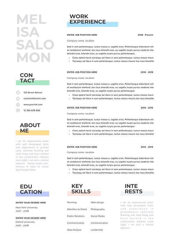 Resume Template Resume Cv Template Cv Design Curriculum Etsy In 2020 Resume Template Minimalist Resume Minimalist Resume Template