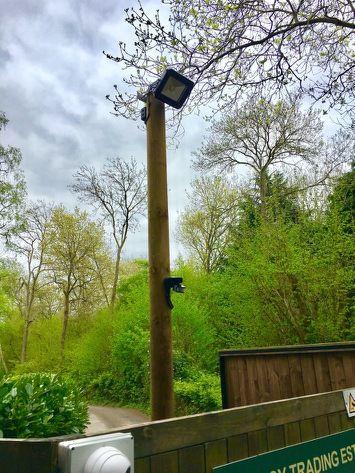 Loving being out and about outside. Post mounted LED flood light with motion sensor #electrician #camberely #localbusiness