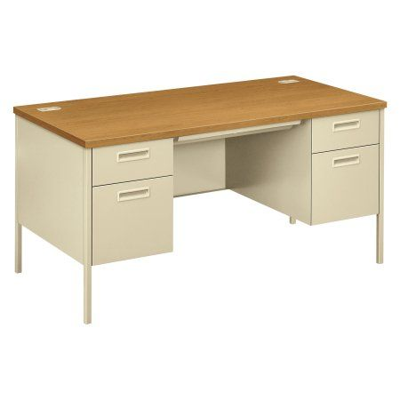 HON Metro Classic Double Pedestal Desk, 60w x 30d x 29 1/2h, Harvest/Putty, Multicolor