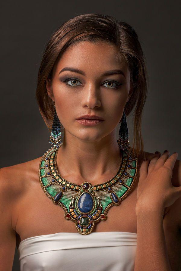 """Beaded Necklace   Вышитое колье """"Древний Египет"""" — работа дня на Ярмарке Мастеров"""