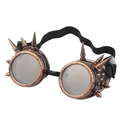 Bluester Rivet Steampunk Windproof Mirror Vintage Gothic Lenses Goggles Glasses…