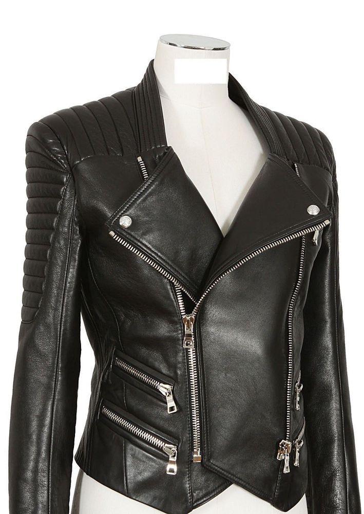 New Women's Leather Motorcycle Biker Jacket 100% Genuine Soft Lambskin #N210 #NationalLeather #MotorcycleBomber
