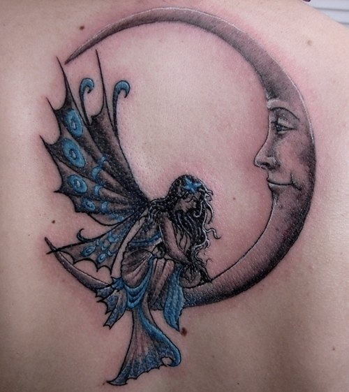 fairy moon tattoo idea