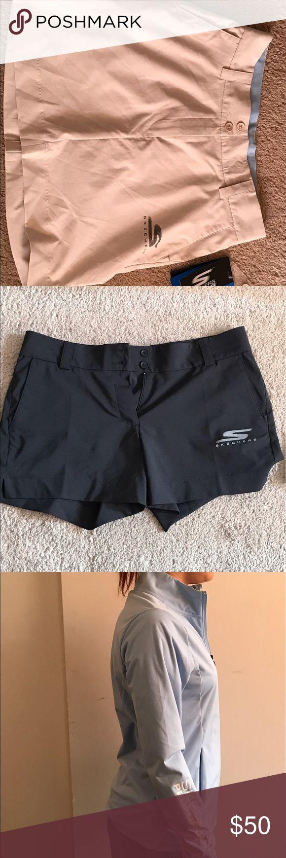 Women's golf set of 2 tops/ 2bottoms/ jacketshoes Black gold shorts:8; black collared shirt:S; black collared shirt with white:M; blue jacket:S gold shoes:8.5; tan sketcher golf skort:6 Other