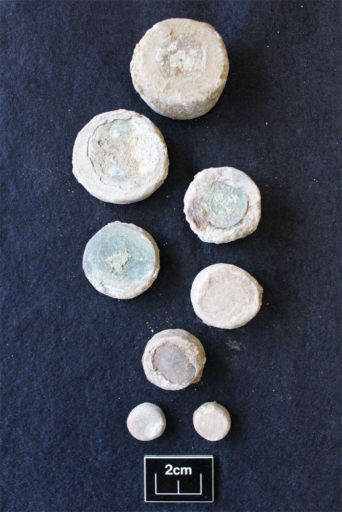 Archaeological Solutions Ltd have been carrying out an extensive excavation in north-east Suffolk and the finds assemblage has 'weighed in' with an intriguing set of medieval weights. Coin set into weight. Image: Archaeological Solutions Ltd  Coin set into weight. Image: Archaeological Solutions Ltd  This set of seven squat, cylindrical, lead, or lead-alloy, weights was recovered from a single feature. weights. Image: Archaeological Solutions Ltd image-138001  weights. Image: Archaeological…