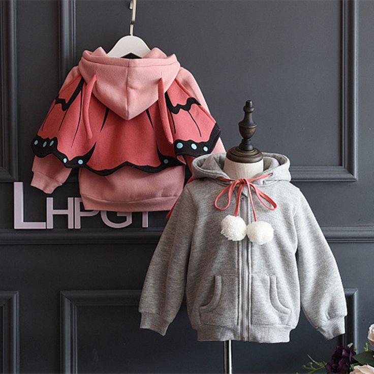 Niñas otoño Invierno Capas Gruesas Niños Chaquetas Bebé ropa de Invierno Ropa de Abrigo Con Capucha Niños Mariposa Muchachas De La Manera de la Capa 81343(China (Mainland))