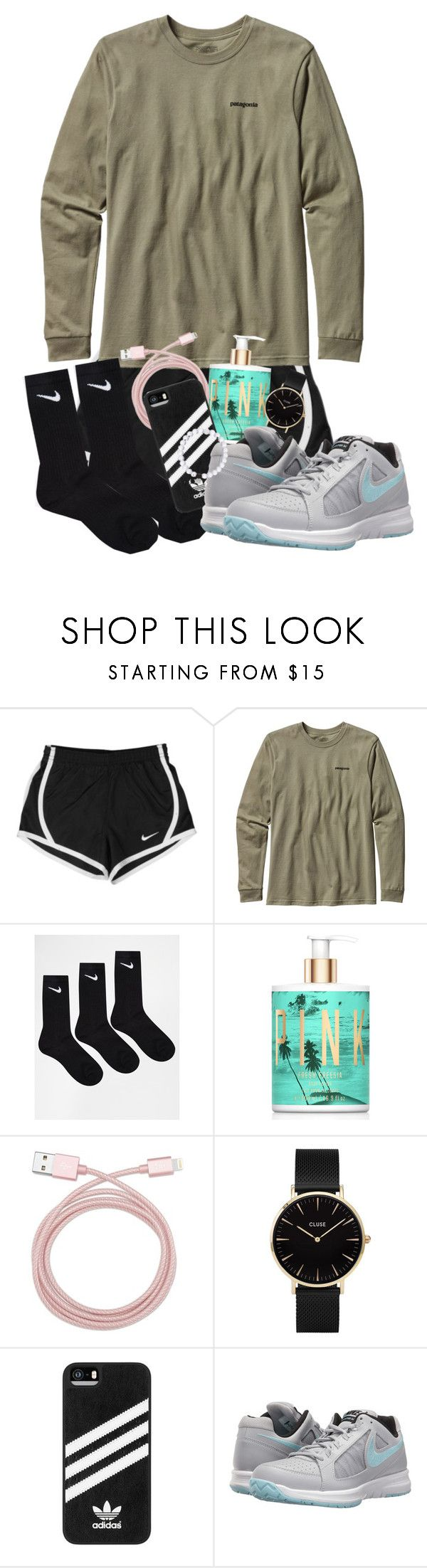 """""""We have sever thunderstorms today!⛈🌩🌧☔️"""" by maris3456 ❤ liked on Polyvore featuring NIKE, Patagonia, Victoria's Secret, Belkin, CLUSE, adidas, Everest, Pink, nike and thunderstorms"""