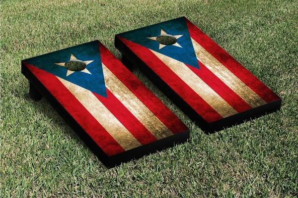 Represent Puerto Rico with a Puerto Ricanflag cornhole game set. Made in the USA! With this set you get two high quality wooden cornhole boards with folding le