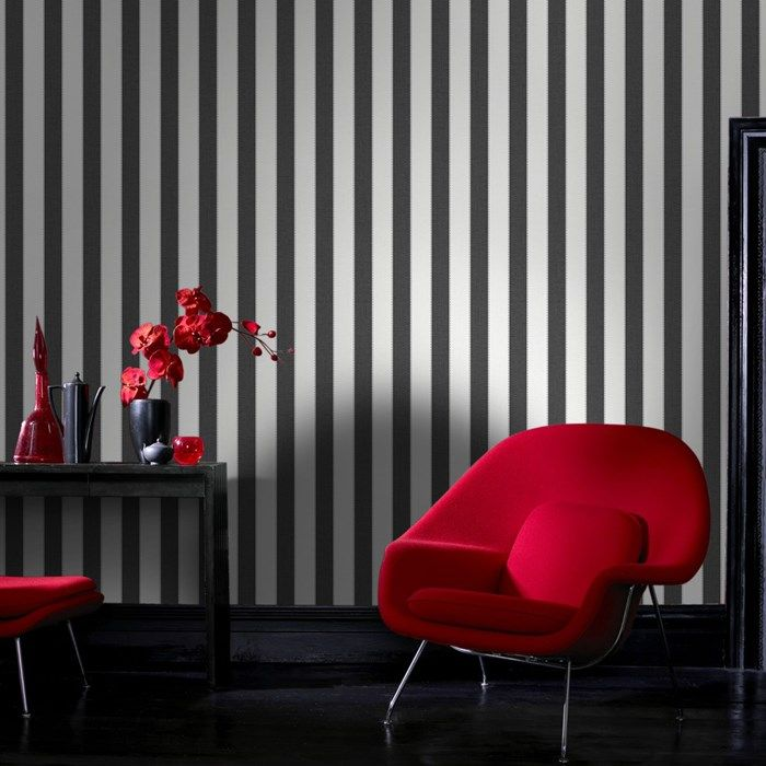 Ticking Stripe Wallpaper - Black  White Stripes Wall Coverings by Graham  Brown