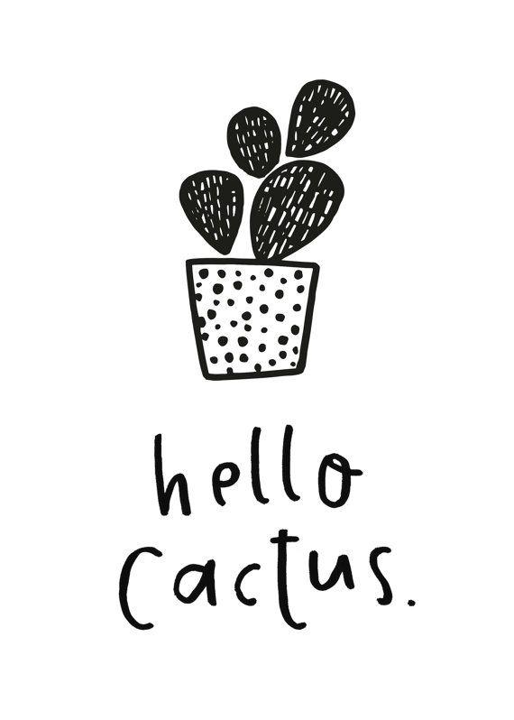 Hello Cactus Printable Cactus Illustration by TheGingerLlama
