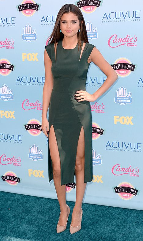 Selena gomez double slit dress