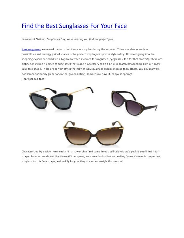 Find the best sunglasses for your face