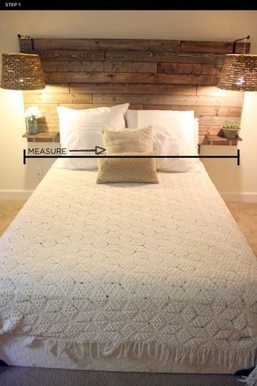 PULCHRITUDE // FEST: DIY: Rustic Headboard…love the small tables for drink and glasses