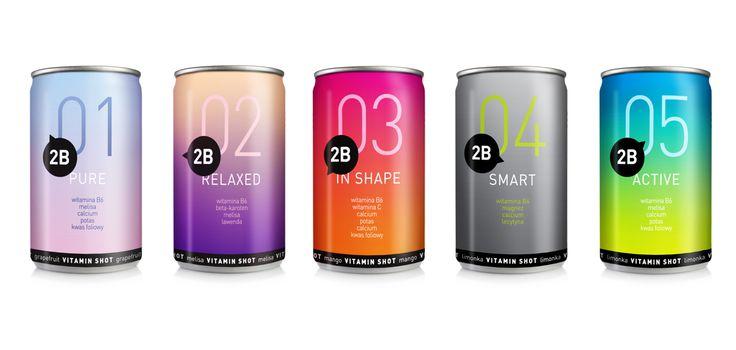 Beautiful gradient 2B vitamin shots and water packaging PD