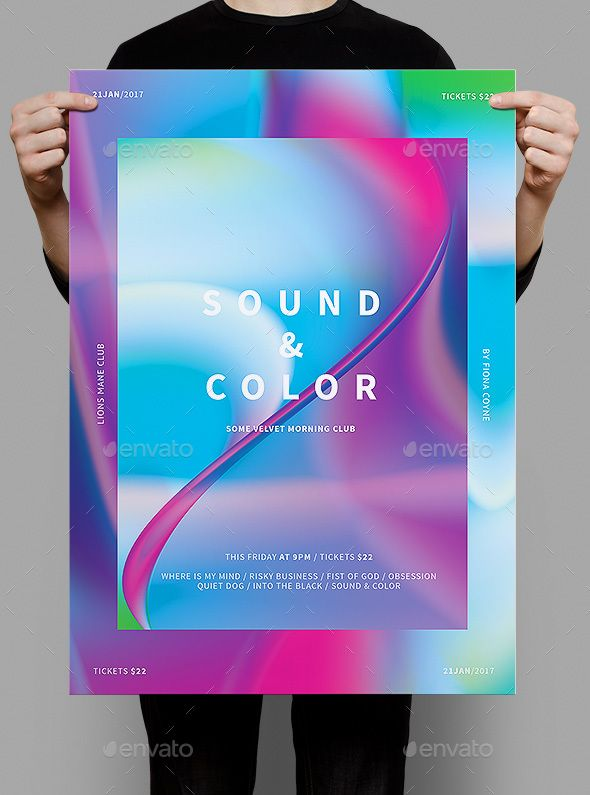 Sound & Color Poster / Flyer — Photoshop PSD #hip #typography • Download ➝ https://graphicriver.net/item/sound-color-poster-flyer/19297563?ref=pxcr