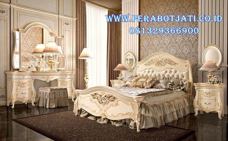 Set Tempat Tidur Mewah Ukir Warna Putih Kombinasi Gold | Jual Kamar Tidur Ukir Klasik Luxury